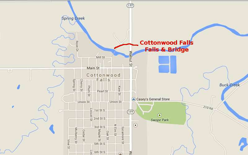 Cottonwood Falls Kansas Dam and Bridge Map - Cottonwood Falls, Kansas