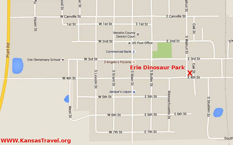 Erie Dinosaur Park Map - Erie, Kansas
