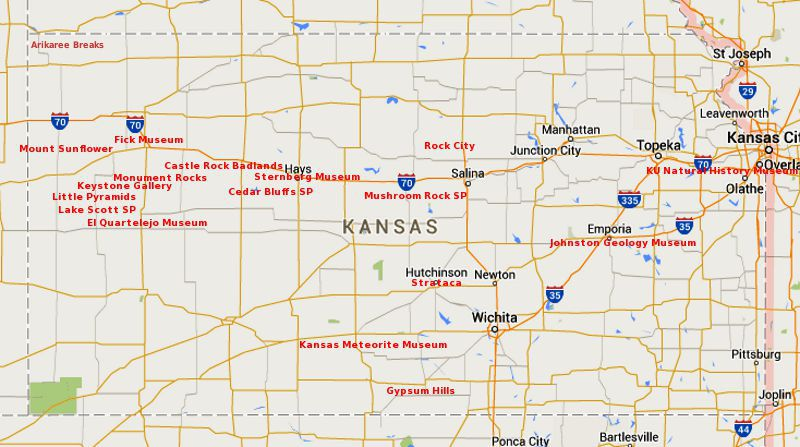 Kansas Geology and Archeology Tour – Tourist Attractions Map In Kansas