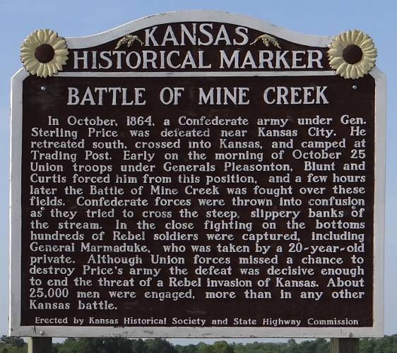 Battle of Mine Creek Kansas historical marker
