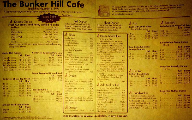 Bunker Hill Cafe Menu - Bunker Hill, Kansas