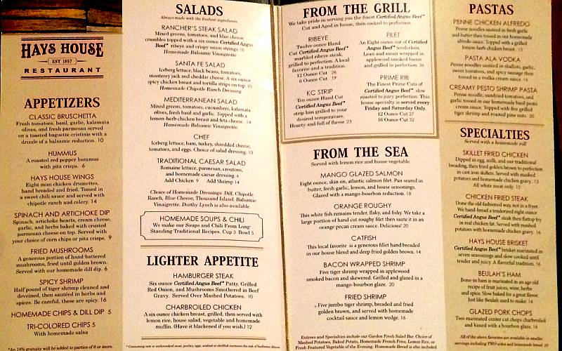 Hays House Menu - Council Grove, Kansas