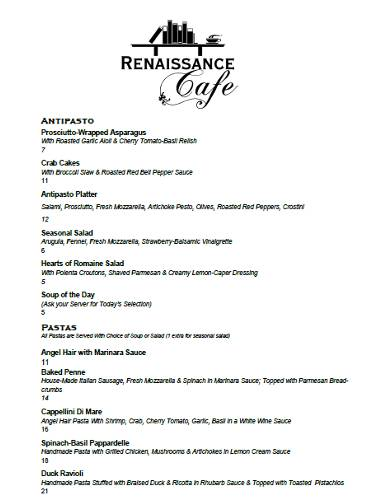 Renaissance Cafe Starer and pasta menu