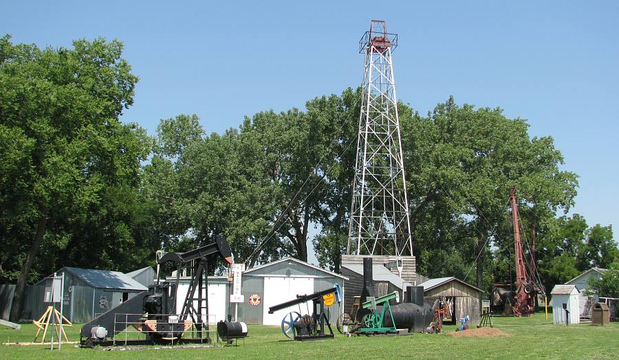 Oil wells and derricks at the Kansas Oil Museum