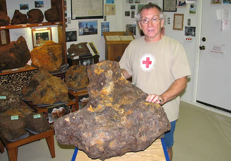 Don Stimpson and Brenham Meteorite fragment