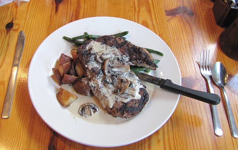 Ribeye steak at the Renaissance Cafe