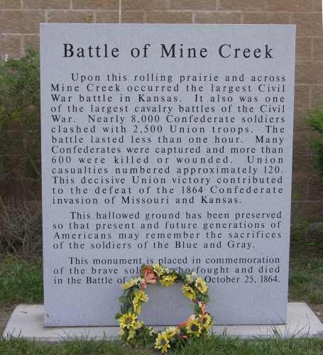Battle of Mine Creek memorial marker