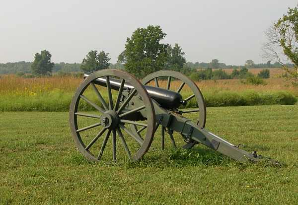 cannon outside Mine Creek Battlefield visitor's center