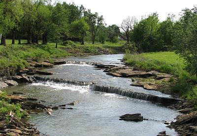 Wildcat Creek Waterfalls and swinging bridge - Moline, Kansas